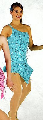 Peacock Latin Ballroom Salsa Sequin Drop Dress 1 Shoulder...