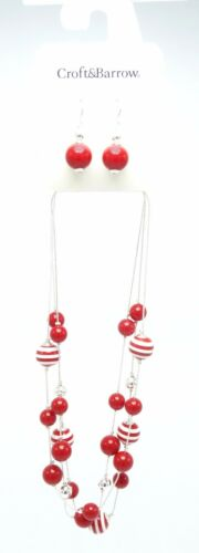 One Dozen New Closeout Necklace Earring Sets with Red & White Beads #N2583-12