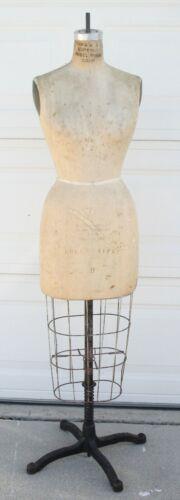 JR BAUMAN Model DRESS FORM Mannequin Industrial Cage Cast Iron Base Vtg Antique