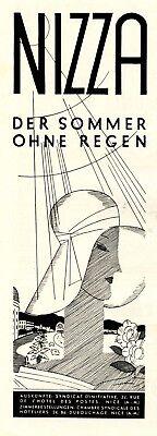 Nizza Somme ohne Regen Reklame 1931 Werbung Frankreich