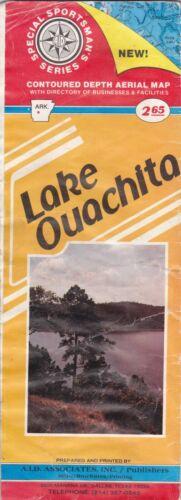 1982 Lake Ouachita Contoured Depth Map Brochure