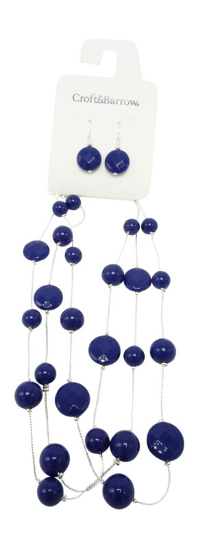 One Dozen New Closeout Necklace Earring Sets with Deep Blue Beads #N2586-12