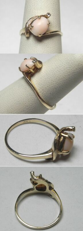 C961 Vintage 14K Solid Yellow Gold Ladies Abstract Coral Ring, Size 7