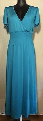 NEW! Women's Maxi Formal Dress Teal Or Purple Smocked Empire Waist -The Paragon ()