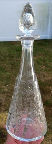 """14"""" Antique PAIRPOINT KENTWOOD DECANTER Stopper - Cut Crystal AMERICAN BRILLIANT"""