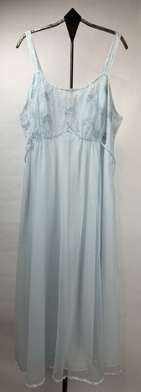 Vtg Gossard Artemis Nylon Night Gown Chiffon Overlay Lace Accents Blue Sz 38