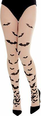 Nude Halloween Tights With Bat Print Hosiery Fancy Dress Accessory New