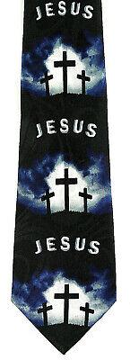 Calvary Easter Men's Neck Tie Religious Christian Jesus Cross Black Neck Tie - Easter Christian