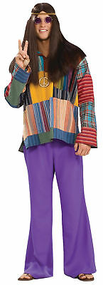 60's Style Halloween Costumes (Bell Bottom Pants Purple Adult Men's Costume 60'S Style Halloween Dress)