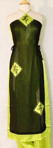 Traditional Asian Vietnamese Dress Sleeveless Aodai  Embroidered Long Life Sign