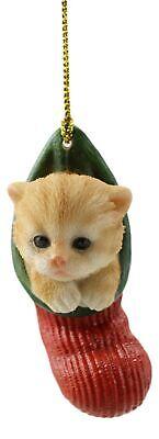 Orange Tabby Cat Kitten In The Sock Small Christmas Tree Ornament Figurine Decor ()