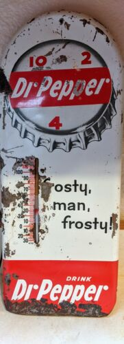vintage dr pepper porcelain metal sign w thermometer frosty man frosty free ship