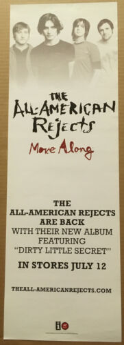 ALL AMERICAN REJECTS Rare 2005 PROMO POSTER BANNER w/ DATE for Move CD 9x27 USA