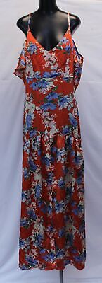 Boohoo Women's Plus Floral Cold Shoulder Maxi Dress SC4 Red Size US:14 UK:18 NWT