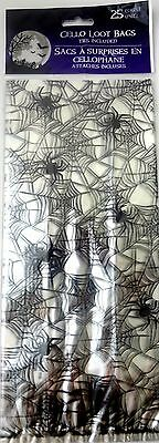 New Halloween Treat Bags Cello 25 Count Pack ~ Spider - Halloween Cello Treat Bags