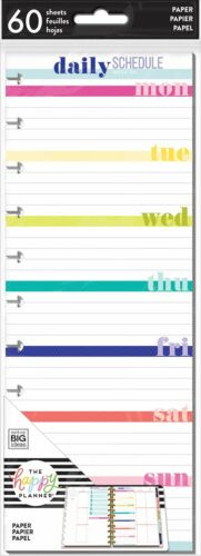 The BIG Happy Planner DAILY SCHEDULE Half Sheet Note Paper - 60 sheets