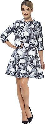 Jack Skelett Kostüm (Damen Skelett Anzug Kostüm Jacke Kleid Damen Halloween Knochen Kostüm)