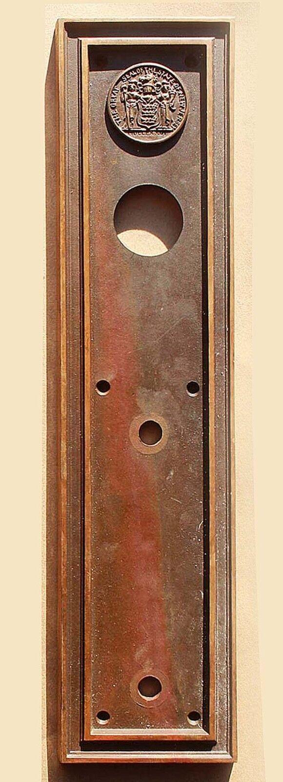 """4""""x16"""" Antique Seal of New Jersey SOLID Cast Bronze Door Push Plate Escutcheon"""