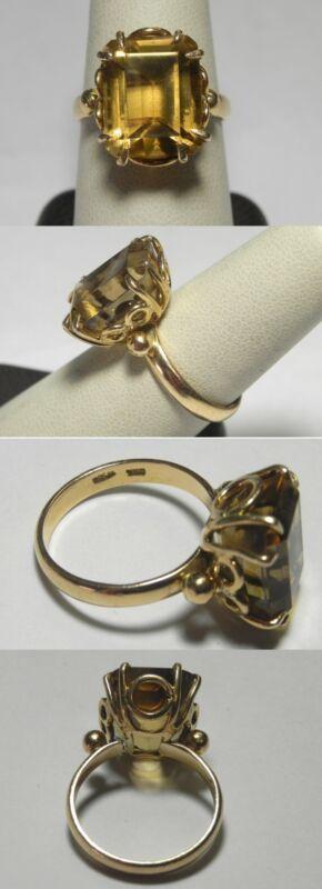 C1085 Vintage 18K Solid Yellow Gold Lemon Quartz Ring, Size 8.75