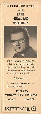1958 Kptv Tv Ad John Salisbury Late News   Weather Portland Oregon Channel 12