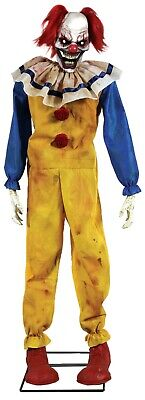 Halloween Lifesize Animated SCARY EVIL TWITCHING CLOWN Haunted House Prop NEW - Scary Clown Props