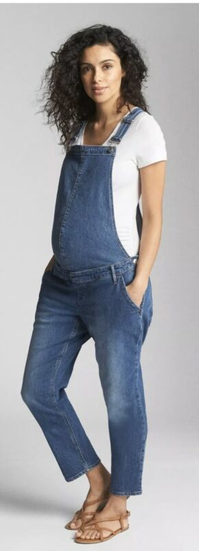 NWT Gap Maternity Denim Overalls Medium Indigo XS Cropped 32 X 27