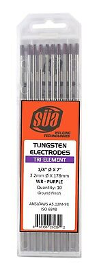 Sa - Tri-element Tungsten Electrode - Tig - 18 X 7 - Purple Tip - 10 Pack