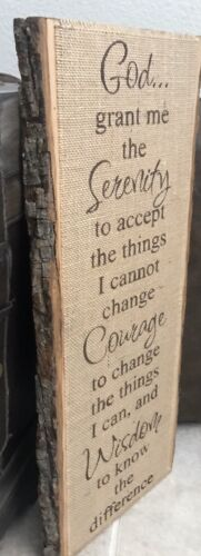 Primitive Rustic Basswood Country Plank Burlap Sign Serenity Prayer NEW 23 x10  - $39.99