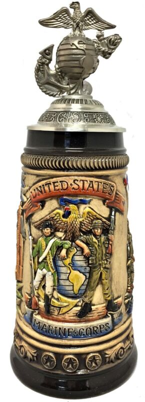 United States Marine Corps with USMC Logo Pewter Lid LE German Beer Stein .5 L