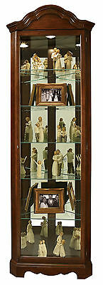 Howard Miller 680-495 (680495) Murphy Lighted Curio Cabinet - Cherry Bordeaux Cherry Bordeaux Curio Cabinet