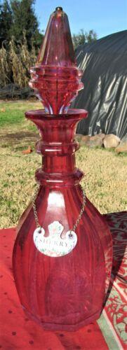 GORGOUS CUT GLASS ANTIQUE VICTORIAN DECANTER LIQUOR W/ ENAMEL LABEL