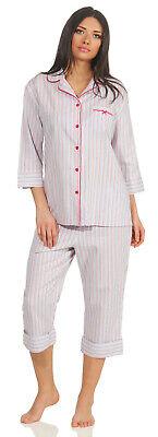 Baumwolle Gewebte Hose (Damen Seidensticker / Schiesser  Schlafanzug Pyjama 3/4 Hose gewebt SK331)