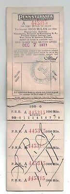 1910-11 Pennsylvania Railroad Co. Ticket Book