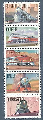 3333-37 FAMOUS TRAINS STRIP OF 5 MINT/NH FREE SHIPPING OFFER