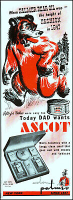 1947 Red Bear Palmer Bear Oil Ascot men's toiletries vintage art print ad L66