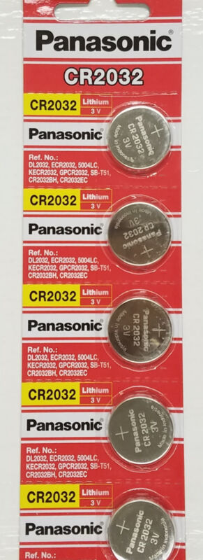 **FRESHLY NEW** 5x Panasonic CR2032 Lithium Battery 3V Coin Cell Exp 2024