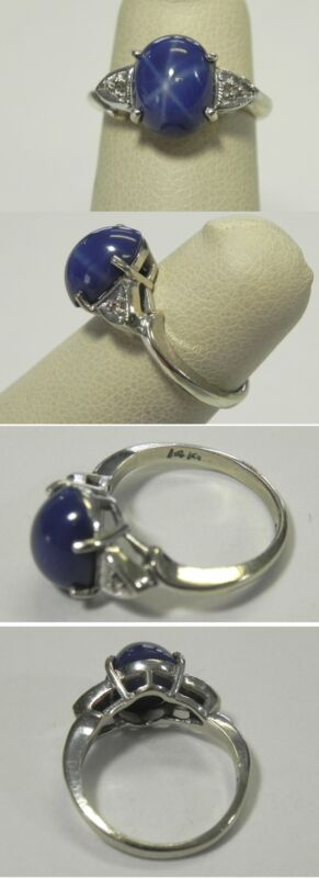 C803 Vintage 14K White Gold Oval Blue Star Sapphire (lab) Ring, Sz 4.5