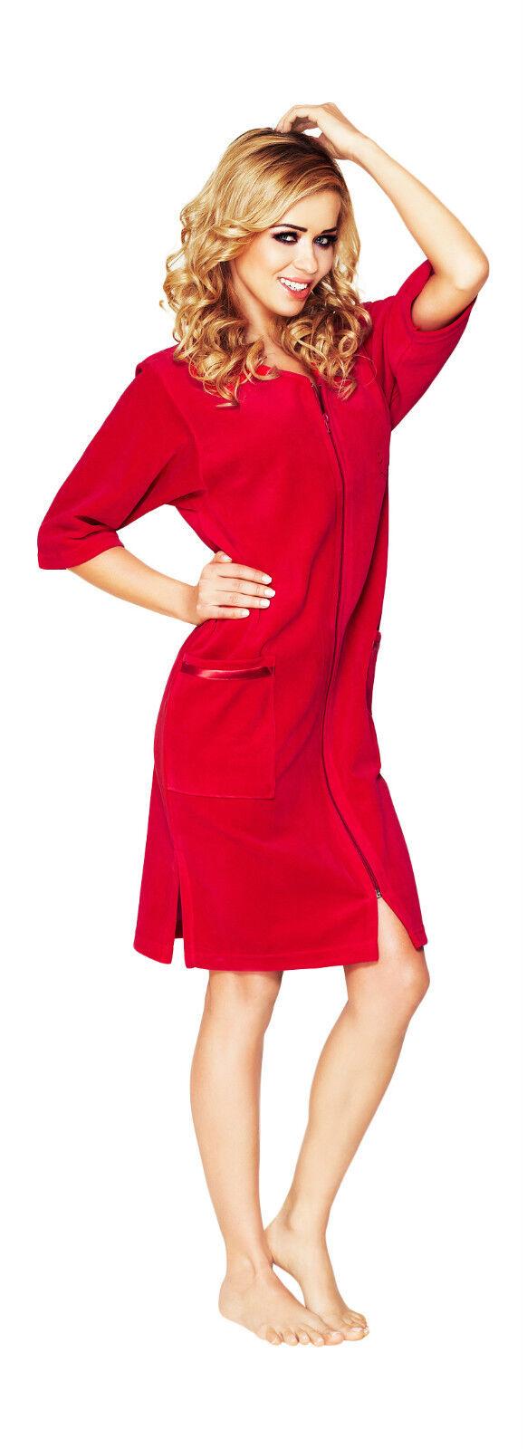 Womens Cotton Robe Housecoat Dressing Gown Dress Velour Bathrobe Zip ...