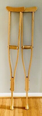 Vintage Wooden Adjustable Crutches - Wood is in Excellent Condition