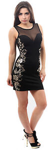 New Ladies Mesh Insert Glitter Gold Foil Print Cocktail Party Evening Dress 8-16