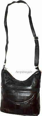 Schwarz Leder Tasche-tag (Neu Damen Leder Schwarz Handtasche Schultertasche Tag Tasche Taschenbuch)