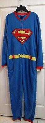 DC COMIC SUPERMAN MAN OF STEEL COSTUME PYJAMAS ZIPPER+CAPE ADULT SMALL HALLOWEEN