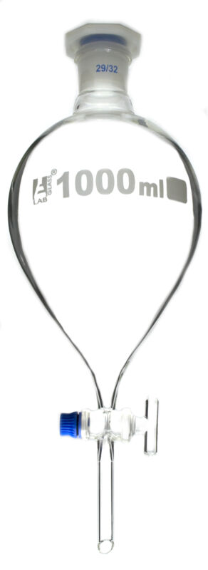1000ml Separating Funnel, Pear Shaped, Borosilicate Glass, Glass Stopcock,