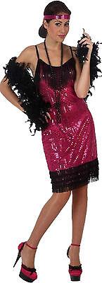 edles pink farbenes Flapper Kostüm Gr.M/L Kopfschmuck Kleid Party 20er Fasching ()