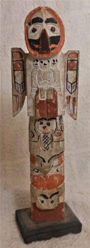 Very Good Antique Native Am. Northwest Coast White Painted Totem Pole Model