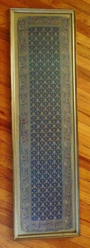 "Antique Persian Wall Hanging Framed Under Glass Approximately 45"" Long"