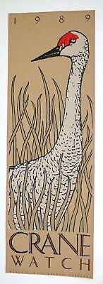 Nebraska Sandhill Crane - SANDHILL Whooping Crane Nebraska BIRD NERD 1989 Art Print PAPER Poster AUDUBON