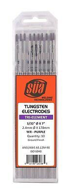 Sa - Tri-element Tungsten Electrode - Tig - 332 X 7 - Purple Tip - 10 Pack