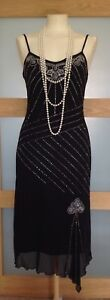 Oasis 20's Flapper Style Black/Silver Beaded Design Lined Cocktail Dress 10/12