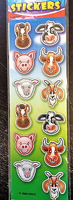 10 Sheets Farm Barn Animals Stickers Party Favors Teacher Supply Cow Pig Horse